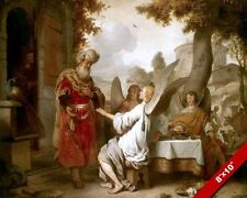 ABRAHAM VISTIED BY 3 ANGELS PAINTING BIBLE CHRISTIAN ART REAL CANVAS PRINT