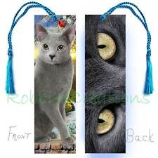 Russian Blue CAT Large BOOKMARK w/TASSEL Grey/Gray Eyes Art Book CARD figurine