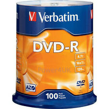 Verbatim dvd-r 16x 4.7GB dvd vierges media disques 100 broche pack