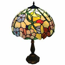 CR60-12TL-30cm Spring Flower Stained Glass Tiffany Table Lamp.