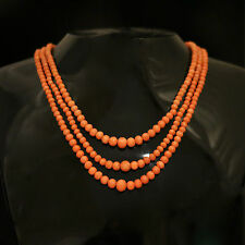 ANTIQUE VICTORIAN CORAL NECKLACE - TRIPLE STRAND CIRCA 1880