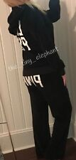 Victoria Secret Love Pink Velour Full Zip Hoodie Flare Sweatpants Sweats Set M L