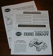 COX .049 DUNE BUGGY OWNERS CAR INSTRUCTION AND 049 ENGINE MANUAL
