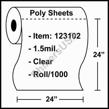 """1.5 mil Poly Sheets 24""""x24"""" Clear - Roll/1000 (123102)"""