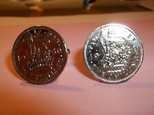 ENGLISH SHILLING COIN CUFFLINKS 1947 - 1966 PICK YOUR YEAR