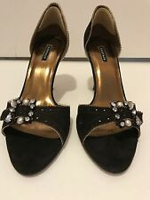 RAMPAGE Shoes Size 8.5 Brown Suede Heels with gorgeous studded buckles