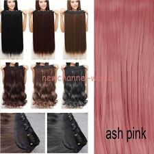 Real as remy Hair Extensions Long Full Head Clip in on fake hair Brown Grey Red