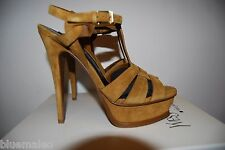 NIB Saint Laurent Suede Tan Tribute Platform Sandals Size 36.5
