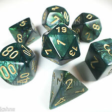 Chessex Dice Poly - Scarab Jade w/ Gold - Set of 7 - 27415 Free Bag! DnD