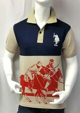 USPA T Shirt. Beige Blue. XL size. US Polo Assn T shirt. Export Surplus.