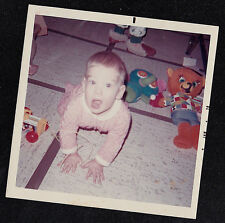 Old Vintage Photograph Adorable Little Baby Crawling on Floor With Toys
