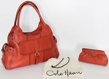 COLE HAAN Orange Leather Handbag Purse and Matching Make-up Case