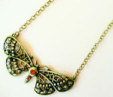 ACCESSORIZE GOLD NECKLACE - LARGE BUTTERFLY DESIGN WITH BEAUTIFUL ORANGE STONES