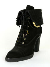 LOUIS VUITTON Black Nubuck Metal-Tip Fold Over Lace-Up Ankle Boots 36.5