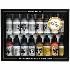 Vallejo Airbrush Farben Set 16x 17ml *Metallic Airbrushfarben Acrylfarben