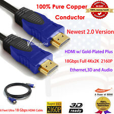 6FT Super Speed Newest HDMI Cable V2.0 4K UHD 2160p Ethernet For 3D DVD HDTV LCD