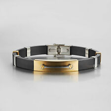 Stainless Steel Black Silicon Chain Bracelet GOLD BAR High Polished Brushed