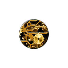 Gears in the Brass Machine - Metal Lapel Hat Round Pin Tie Tack Pinback