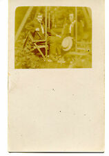 Outdoor Amateur Picture-Young Men in Yard Swing-RPPC-Vintage Real Photo Postcard