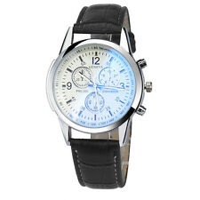 Luxury Mens Fashion Date Watches Leather Stainless Steel Analog Wrist Watch New