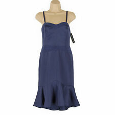 NEW GORGEOUS VERY CLASSY & ELEGANT NAVY SATIN DRESS WITH FISHTAIL HEM SIZE 14
