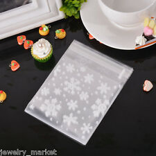 50PCJM White Christmas Snowflake Self Adhesive Seal Plastic Bags Cookie Storage