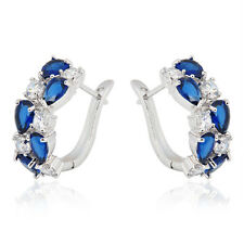 White/Blue Sapphire CZ Hoop Earrings Drop Dangle Women's 10KT White Gold Filled