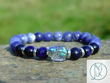 Men Tigers Eye/Sodalite Skull Bracelet with Swarovski Crystal 7'' Elasticated