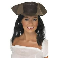 Unisex Leather Look Pirate Hat & Hair Fancy Dress Caribbean Jack Sparrow Ladies