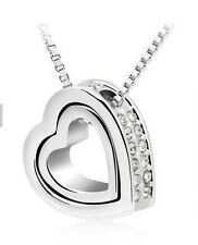 925 Sterling Silver HEART Swarovski Crystals Pendant Charm Necklace Jewelry