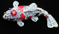 ORANGE BLACK RHINESTONE POND SHUBUNKIN KOI GOLDFISH FISH PIN BROOCH JEWELRY 2""
