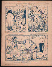 WWI Caricature Guerre Poilus War/Map Banat Romania Bulgaria 1916 ILLUSTRATION