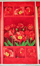 "Red Poppy Passion Flower Northcott Fabric Panel  23""  #5074"