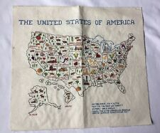 Cross Stitch The United States Of America Map Vintage 1987 Handmade Country Home