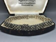 Lovely Vintage Art Deco Marcasite Argento Sterling Braccialetto