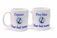 Personalised boat mug x 2 Captain and first mate for Narrow Boat, Boat, Yacht.
