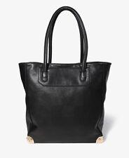 Forever 21 Black Faux Leather Gold Metal Corner Trim Tote Shoulder Bag Handbag