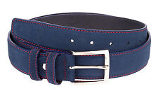 Capo Pelle Designer Mens Belts Italian leather Blue suede belt Red stitch 40""