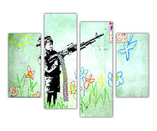 FAMOUS BANKSY PRINTS BOY SOLDIER AND GUN 4 PANEL CANVAS WALL ART PICTURES POSTER