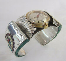 Sterling Silver Inlay Feather Headress Cuff Bracelet/ Timex Watch G. Montano