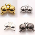 Wholesale 5/10 Sets Round Magnetic Clasps White K/Gun Black/Silver/Gold Plated