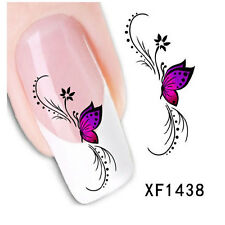 1 Sheet Nail Art Water Decals Transfer Stickers Black Butterfly Flower Design