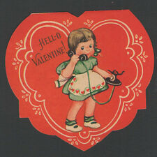 Vintage Childs Valentines Day Card Old Black Rotary Phone HELLO I'm Calling to A