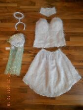 Womens White Snow Angel Costume Corset Handmade 1 of kind Sparkly Wig Sexy Bunny