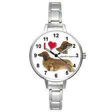 Long Hair Dachshund Tekkel Doxie Dog Mens Ladies Italian Charm Wrist Watch BM404