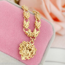 Fashion 18k Gold Filled Filigree Heart Pendant Chain Women Necklace Jewelry Gift