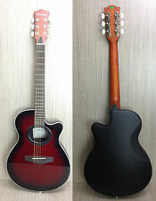 "Caraya C-836TRDS 38"" Round-back Acoustic Guitar Tiger-Red W/Free gig bag,D-Tuner"