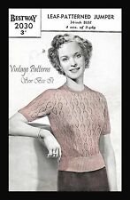 "1940's Bestway 2030 Knitting Pattern Woman's Leaf Jumper Sweater B34"" WWII COPY"