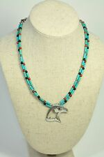 Native American Navajo Eagle Sterling Silver Turquoise Necklace 19""