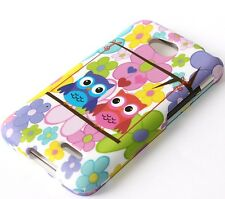 For LG Optimus L70 MS323 D325 - HARD FITTED SKIN CASE COLORFUL FLOWER / OWL BIRD
